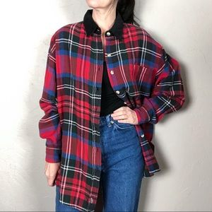Vintage 1980s Plaid Flannel Shirt Red and Black